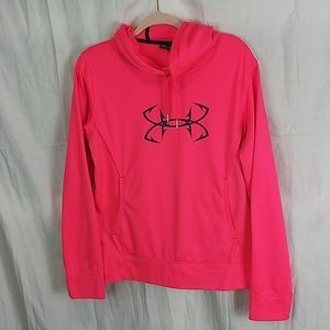 Under Armour UA hot pink logo front hoodie Large
